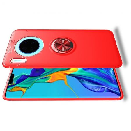Силиконовый Чехол для Магнитного Держателя с Кольцом для Пальца Подставкой для Huawei Mate 30 Красный