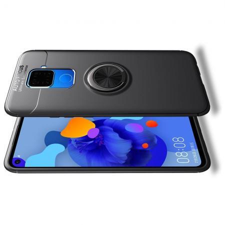 Силиконовый Чехол для Магнитного Держателя с Кольцом для Пальца Подставкой для Huawei Mate 30 Lite Черный
