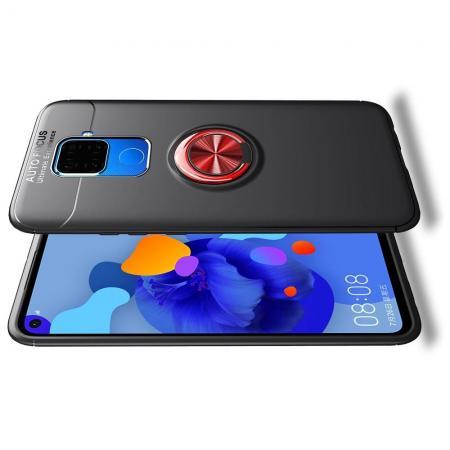 Силиконовый Чехол для Магнитного Держателя с Кольцом для Пальца Подставкой для Huawei Mate 30 Lite Красный / Черный