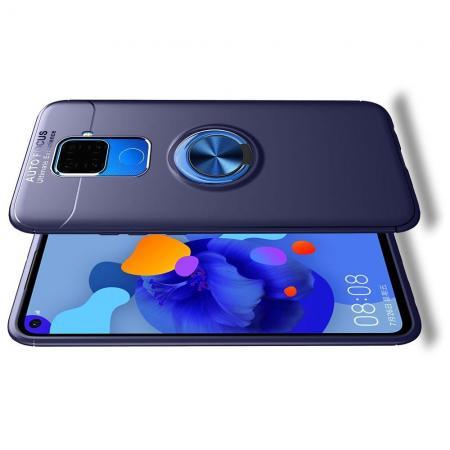 Силиконовый Чехол для Магнитного Держателя с Кольцом для Пальца Подставкой для Huawei Mate 30 Lite Синий