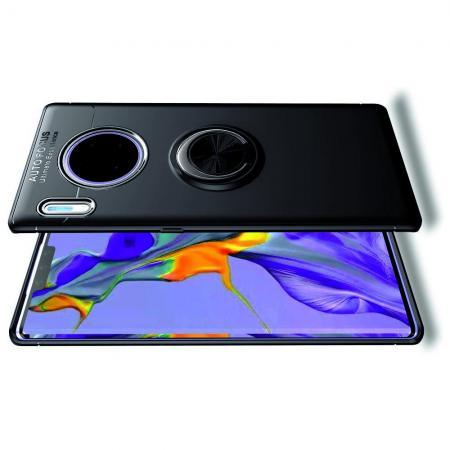 Силиконовый Чехол для Магнитного Держателя с Кольцом для Пальца Подставкой для Huawei Mate 30 Pro Черный