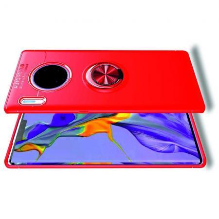 Силиконовый Чехол для Магнитного Держателя с Кольцом для Пальца Подставкой для Huawei Mate 30 Pro Красный
