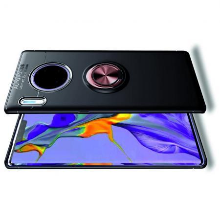 Силиконовый Чехол для Магнитного Держателя с Кольцом для Пальца Подставкой для Huawei Mate 30 Pro Розовый