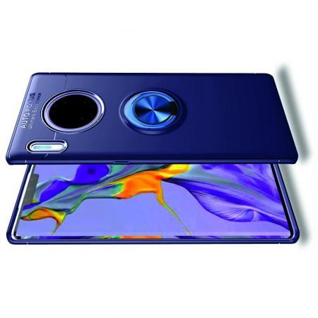 Силиконовый Чехол для Магнитного Держателя с Кольцом для Пальца Подставкой для Huawei Mate 30 Pro Синий