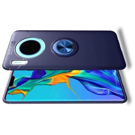 Силиконовый Чехол для Магнитного Держателя с Кольцом для Пальца Подставкой для Huawei Mate 30 Синий