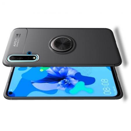 Силиконовый Чехол для Магнитного Держателя с Кольцом для Пальца Подставкой для Huawei Nova 5 Черный