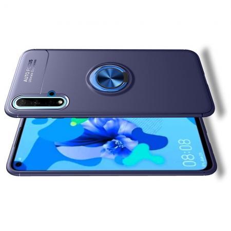 Силиконовый Чехол для Магнитного Держателя с Кольцом для Пальца Подставкой для Huawei Nova 5 Синий