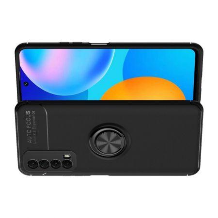 Силиконовый Чехол для Магнитного Держателя с Кольцом для Пальца Подставкой для Huawei P Smart 2021 Черный