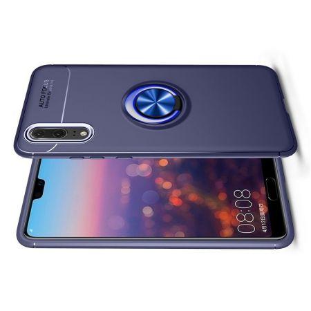 Силиконовый Чехол для Магнитного Держателя с Кольцом для Пальца Подставкой для Huawei P20 Pro Синий