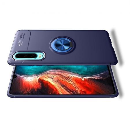 Силиконовый Чехол для Магнитного Держателя с Кольцом для Пальца Подставкой для Huawei P30 Синий