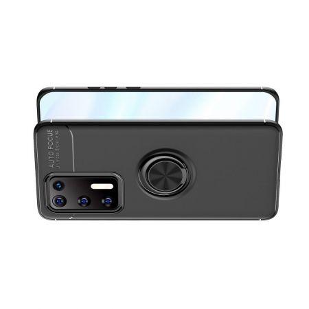 Силиконовый Чехол для Магнитного Держателя с Кольцом для Пальца Подставкой для Huawei P40 Черный