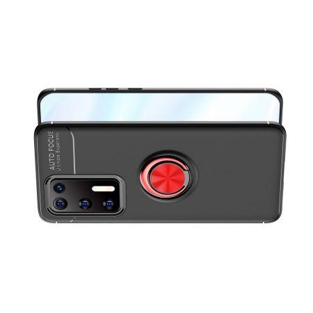 Силиконовый Чехол для Магнитного Держателя с Кольцом для Пальца Подставкой для Huawei P40 Красный / Черный