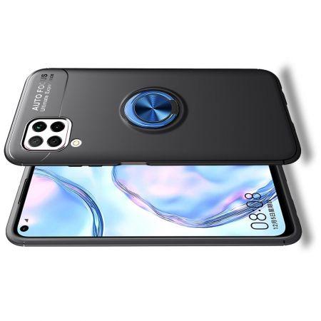 Силиконовый Чехол для Магнитного Держателя с Кольцом для Пальца Подставкой для Huawei P40 Lite Синий / Черный