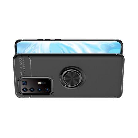 Силиконовый Чехол для Магнитного Держателя с Кольцом для Пальца Подставкой для Huawei P40 Pro+ / Pro Plus Черный