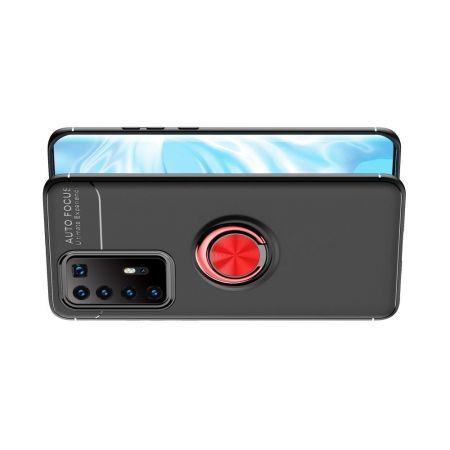 Силиконовый Чехол для Магнитного Держателя с Кольцом для Пальца Подставкой для Huawei P40 Pro+ / Pro Plus Красный / Черный