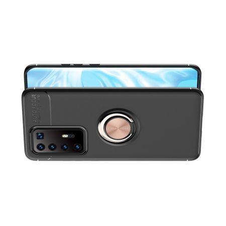 Силиконовый Чехол для Магнитного Держателя с Кольцом для Пальца Подставкой для Huawei P40 Pro+ / Pro Plus Розовое Золото / Черный