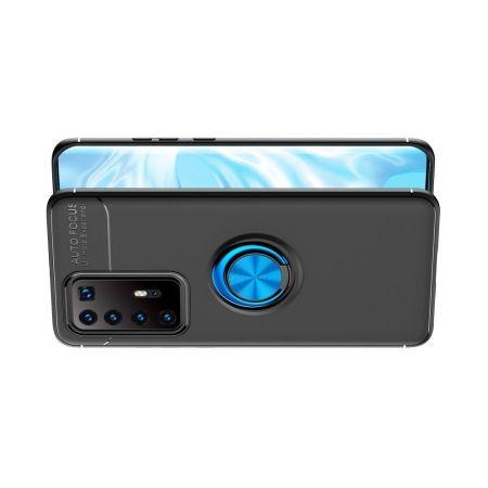 Силиконовый Чехол для Магнитного Держателя с Кольцом для Пальца Подставкой для Huawei P40 Pro+ / Pro Plus Синий / Черный