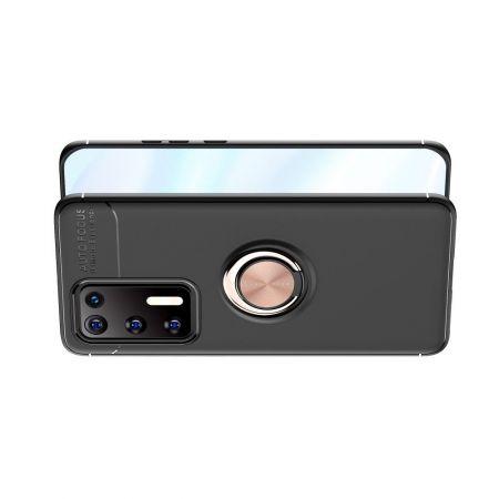 Силиконовый Чехол для Магнитного Держателя с Кольцом для Пальца Подставкой для Huawei P40 Розовое Золото / Черный