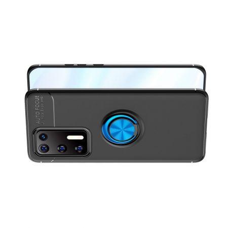 Силиконовый Чехол для Магнитного Держателя с Кольцом для Пальца Подставкой для Huawei P40 Синий / Черный