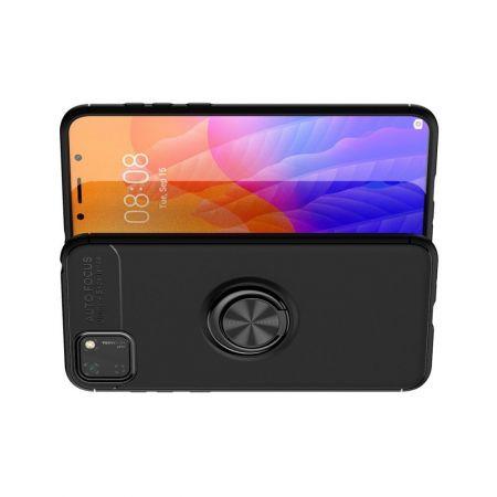 Силиконовый Чехол для Магнитного Держателя с Кольцом для Пальца Подставкой для Huawei Y5p / Honor 9S Черный