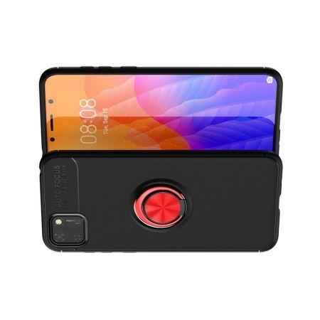 Силиконовый Чехол для Магнитного Держателя с Кольцом для Пальца Подставкой для Huawei Y5p / Honor 9S Красный / Черный