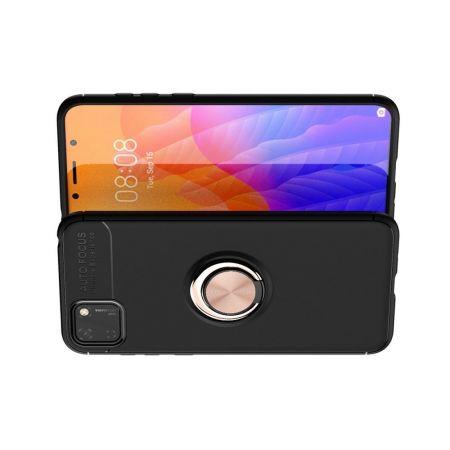Силиконовый Чехол для Магнитного Держателя с Кольцом для Пальца Подставкой для Huawei Y5p / Honor 9S Розовое Золото / Черный