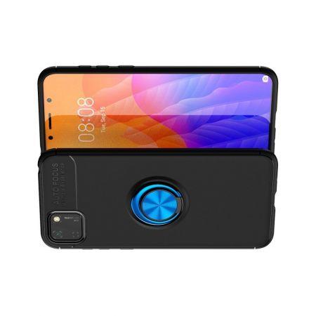 Силиконовый Чехол для Магнитного Держателя с Кольцом для Пальца Подставкой для Huawei Y5p / Honor 9S Синий / Черный