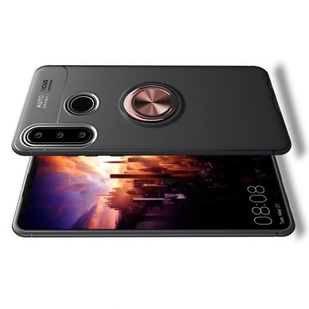 Силиконовый Чехол для Магнитного Держателя с Кольцом для Пальца Подставкой для Huawei Y6p Розовое Золото / Черный