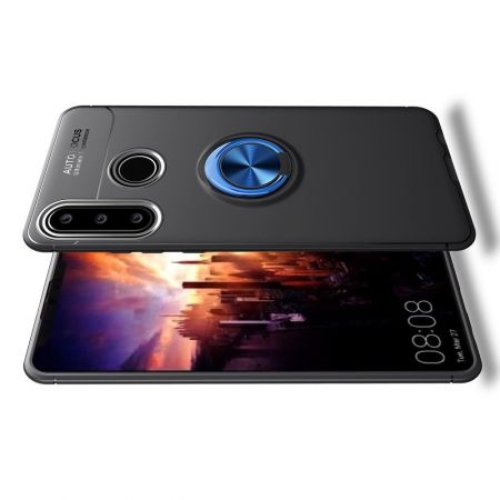 Силиконовый Чехол для Магнитного Держателя с Кольцом для Пальца Подставкой для Huawei Y6p Синий / Черный