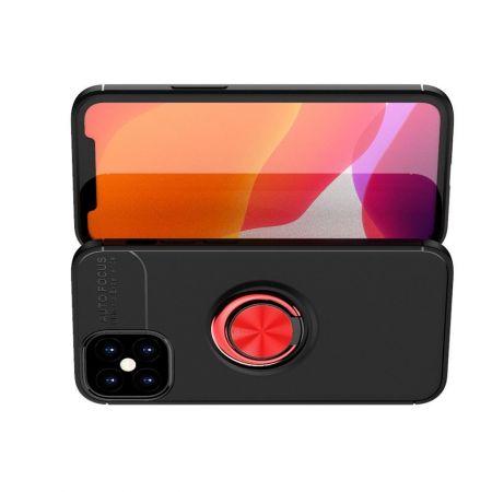 Силиконовый Чехол для Магнитного Держателя с Кольцом для Пальца Подставкой для iPhone 12 mini Красный / Черный