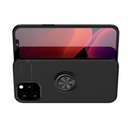 Силиконовый Чехол для Магнитного Держателя с Кольцом для Пальца Подставкой для iPhone 12 Pro Max 6.7 Черный