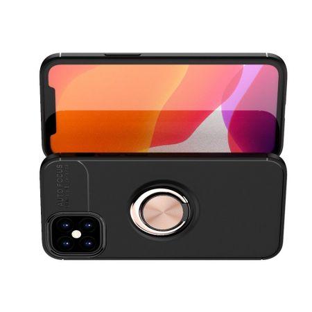 Силиконовый Чехол для Магнитного Держателя с Кольцом для Пальца Подставкой для iPhone 12 mini Розовое Золото / Черный