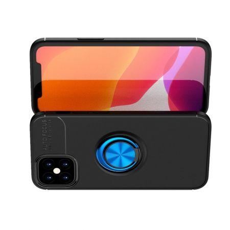 Силиконовый Чехол для Магнитного Держателя с Кольцом для Пальца Подставкой для iPhone 12 mini Синий / Черный