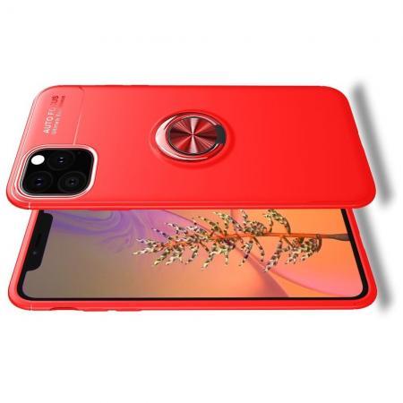 Силиконовый Чехол для Магнитного Держателя с Кольцом для Пальца Подставкой для iPhone 11 Pro Красный
