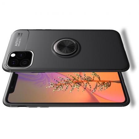 Силиконовый Чехол для Магнитного Держателя с Кольцом для Пальца Подставкой для iPhone XI Max Черный