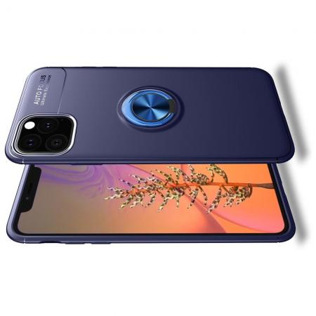 Силиконовый Чехол для Магнитного Держателя с Кольцом для Пальца Подставкой для iPhone 11 Pro Синий