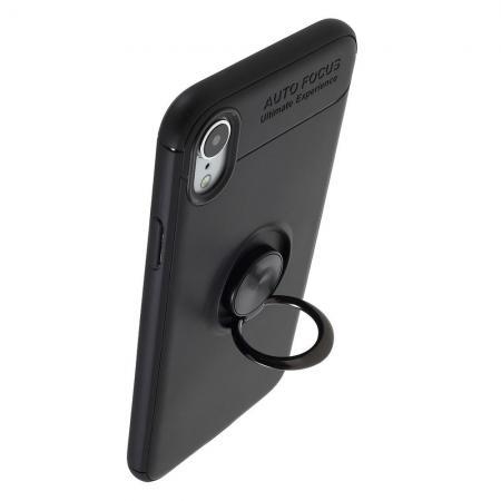 Силиконовый Чехол для Магнитного Держателя с Кольцом для Пальца Подставкой для iPhone XR Черный