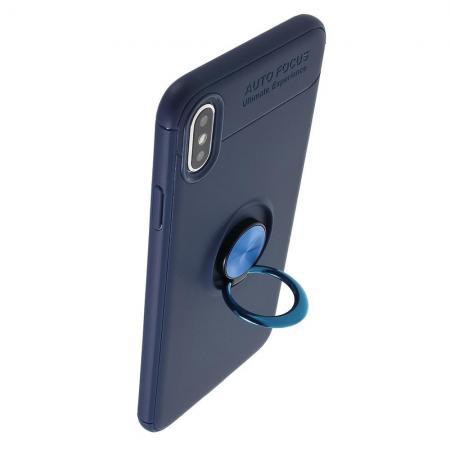 Силиконовый Чехол для Магнитного Держателя с Кольцом для Пальца Подставкой для iPhone XS Max Синий