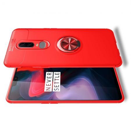 Силиконовый Чехол для Магнитного Держателя с Кольцом для Пальца Подставкой для OnePlus 6 Красный