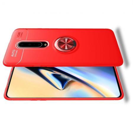 Силиконовый Чехол для Магнитного Держателя с Кольцом для Пальца Подставкой для OnePlus 7 Pro Красный
