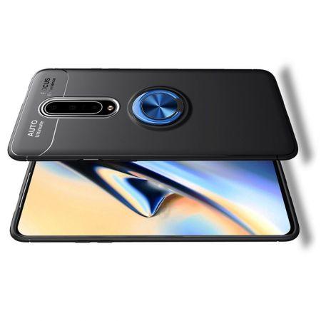 Силиконовый Чехол для Магнитного Держателя с Кольцом для Пальца Подставкой для OnePlus 8 Синий / Черный