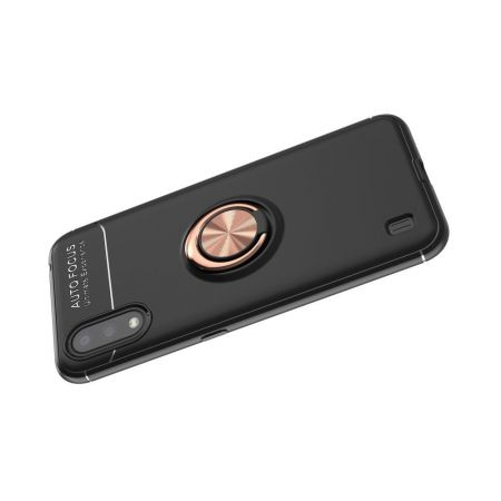 Силиконовый Чехол для Магнитного Держателя с Кольцом для Пальца Подставкой для Samsung Galaxy A01 Черный