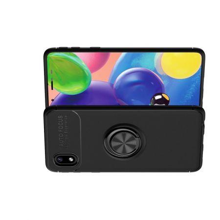 Силиконовый Чехол для Магнитного Держателя с Кольцом для Пальца Подставкой для Samsung Galaxy A01 Core Черный