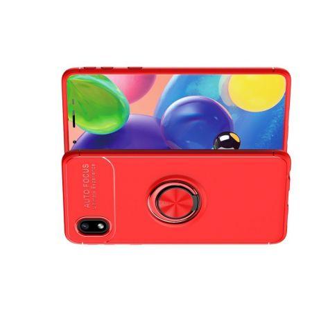 Силиконовый Чехол для Магнитного Держателя с Кольцом для Пальца Подставкой для Samsung Galaxy A01 Core Красный