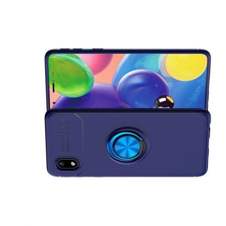 Силиконовый Чехол для Магнитного Держателя с Кольцом для Пальца Подставкой для Samsung Galaxy A01 Core Синий