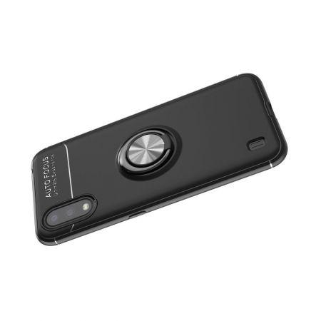 Силиконовый Чехол для Магнитного Держателя с Кольцом для Пальца Подставкой для Samsung Galaxy A01 Серебро / Черный