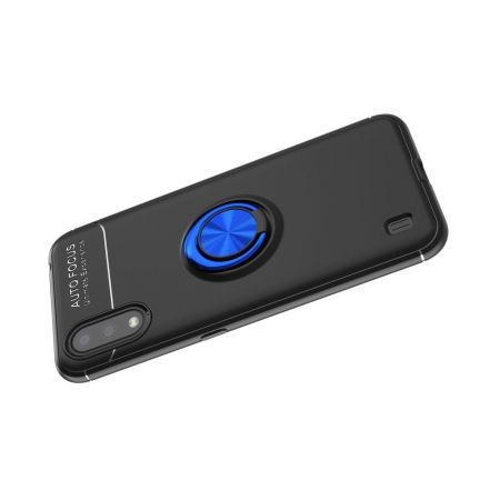 Силиконовый Чехол для Магнитного Держателя с Кольцом для Пальца Подставкой для Samsung Galaxy A01 Синий / Черный