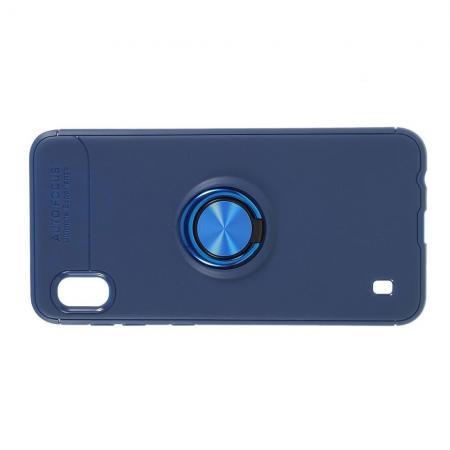 Силиконовый Чехол для Магнитного Держателя с Кольцом для Пальца Подставкой для Samsung Galaxy A10 Синий