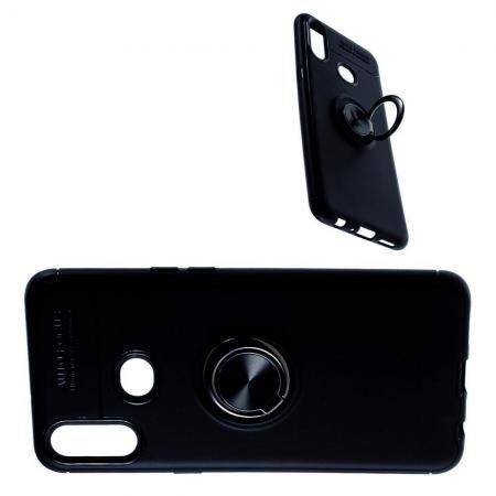 Силиконовый Чехол для Магнитного Держателя с Кольцом для Пальца Подставкой для Samsung Galaxy A10s Черный