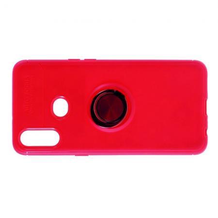 Силиконовый Чехол для Магнитного Держателя с Кольцом для Пальца Подставкой для Samsung Galaxy A10s Красный